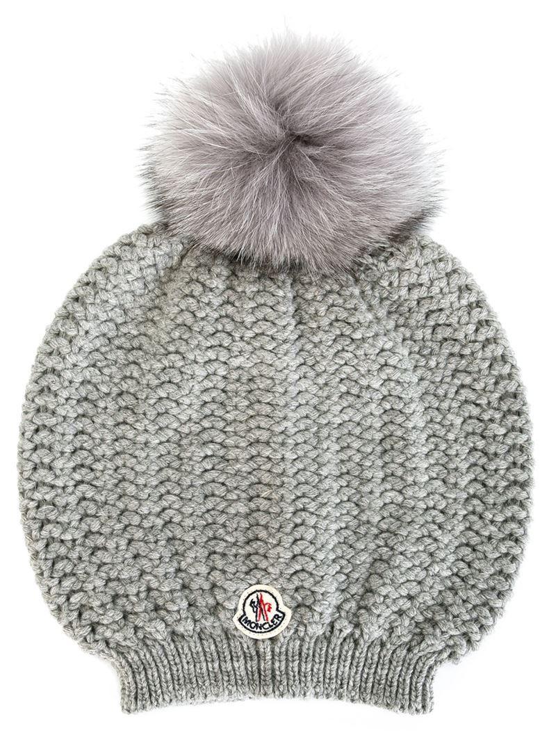 5ce7225e75e MONCLER Fur-pompom ribbed-knit hat in grey - Wheretoget
