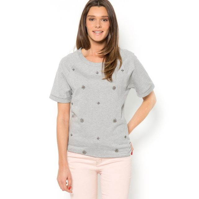 Sweat molleton manches courtes brodé bijoux Soft Grey | La Redoute
