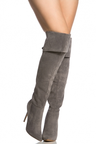Faux Suede Pointed Toe Thigh High Boots @ Cicihot Boots Catalog ...