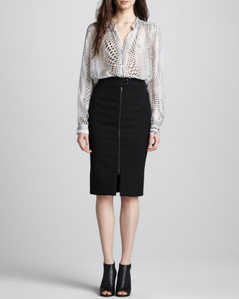 L'Agence Sheer Printed Silk Blouse & Front-Zip Pencil Skirt - Neiman Marcus