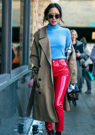 pants nyfw 2017 fashion week 2017 fashion week streetstyle red pants leather pants vinyl sweater blue sweater turtleneck turtleneck sweater coat camel camel coat sunglasses song of style