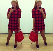 t-shirt,plaid,t-shirt dress,oversized t-shirt,plaid tunic t-shirt dress,plaid shirt,red plaid,long tshirt,plaid cropped top,crop tops,country,dress,blouse,red,like,bag