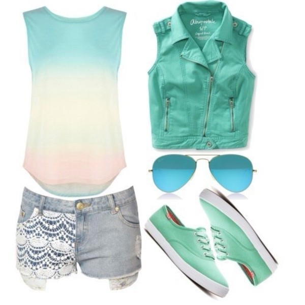 shirt t-shirt top shorts jacket summer outfits ombre green blouse vest blue jacket turquoise