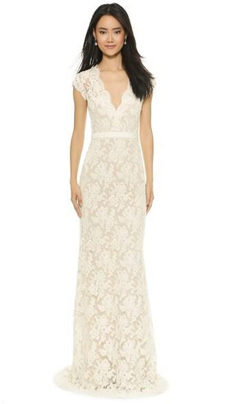 gown lace cream blush dress