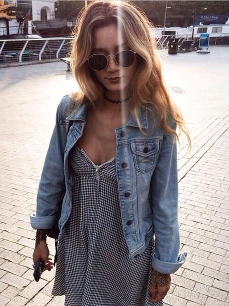 jacket dress sunglasses gingham black and white black and white dress jean jackets denim jacket denim gingham gingham print strappy dress summer summer outfits summer dress summer outfits