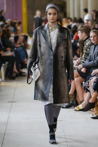 coat paris fashion week 2017 taylor hill model runway miu miu dress midi dress