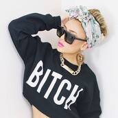 sunglasses,celebrity style steal,jewels,hair accessory,tank top,sweater,shirt,crop tops,bitch,black,t-shirt