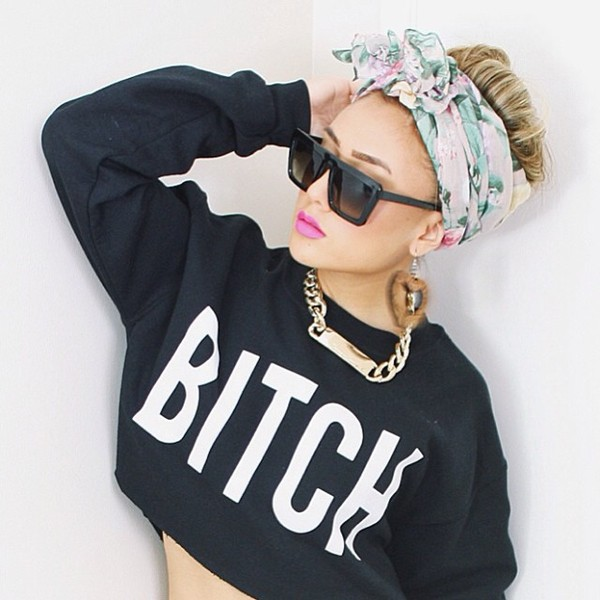 sunglasses celebrity style steal jewels hair accessory tank top sweater shirt crop tops bitch black t-shirt