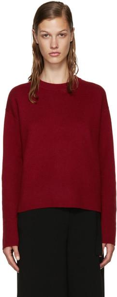 Proenza Schouler sweater back open burgundy