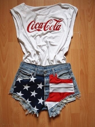 shirt t-shirt shorts white red coca cola coke clothes cutoff shirt summer outfits fashion hot cute cut offs shoulder free top t-shirt black cola tank top red white and blue