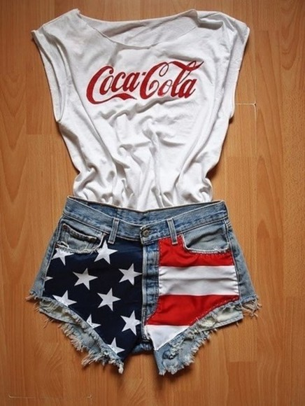 red white and blue shorts shirt t-shirt white red coca cola coke summer outfits clothes cutoff shirt fashion hot cute cut offs shoulder free top t-shirt black cola tank top