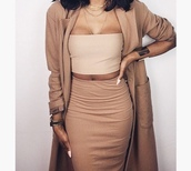 all nude everything,nude top,nude skirt,camel coat,camel,nude,tan,crop tops,bustier crop top,bodycon skirt,nude dress,outfit,tank top,beige,black,short,ope,ghetto,top,jacket,brown,baddies,beige coat,shirt