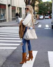 shoes,boots,suede boots,mid heel boots,brown boots,fringe shoes,jeans,skinny jeans,ripped jeans,shoulder bag,maxi bag,turtleneck sweater,coat,sunglasses