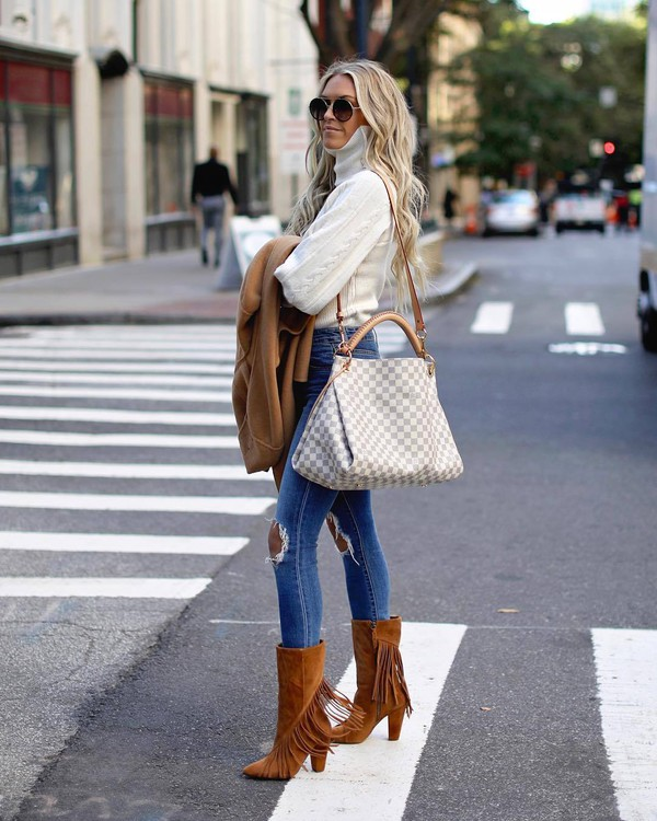 shoes boots suede boots mid heel boots brown boots fringe shoes jeans skinny jeans ripped jeans shoulder bag maxi bag turtleneck sweater coat sunglasses sweater white turtleneck top white sweater