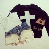 sweater,jumper,cross,died shorts,shorts,studded shoes