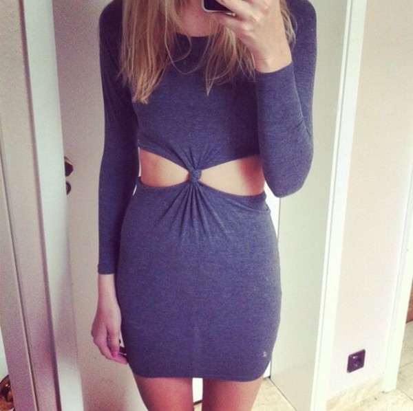 cut-out dress cut-out grey cut out bodycon dress grey dress dress