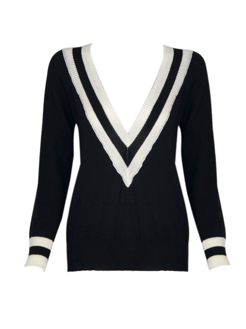 V Neck Knitted Jumper with Striped Rib - Choies.com