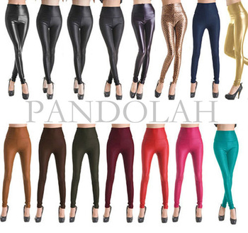 2013 newest sexy women faux leather stretch high waist leggings juniors pants 4 size 19 colors #pd001