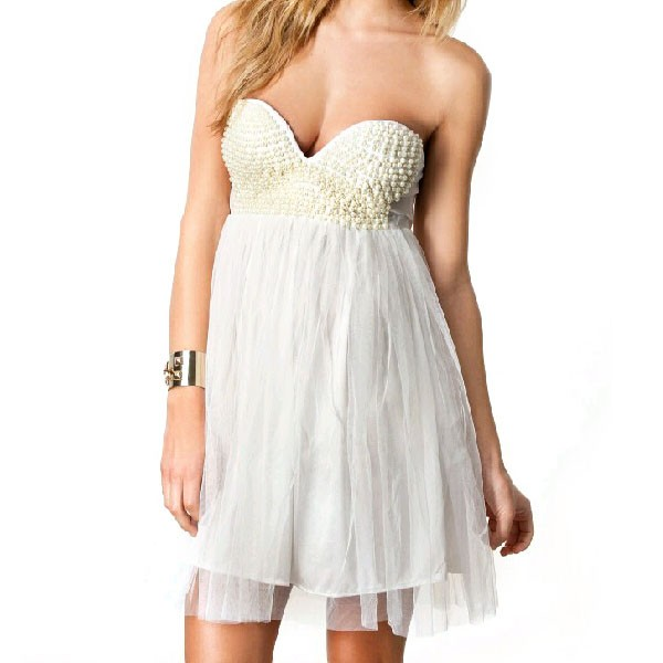 feclothing                  - Solid Pearl wrapped halter DRESS
