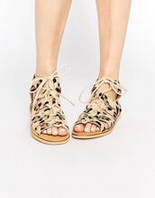 shoes,london rebel,flats,flat sandals,spring accessory,animal print,leopard print,strappy flats,lace up flats