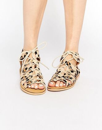 shoes london rebel flats flat sandals spring accessory animal print leopard print strappy flats lace up flats