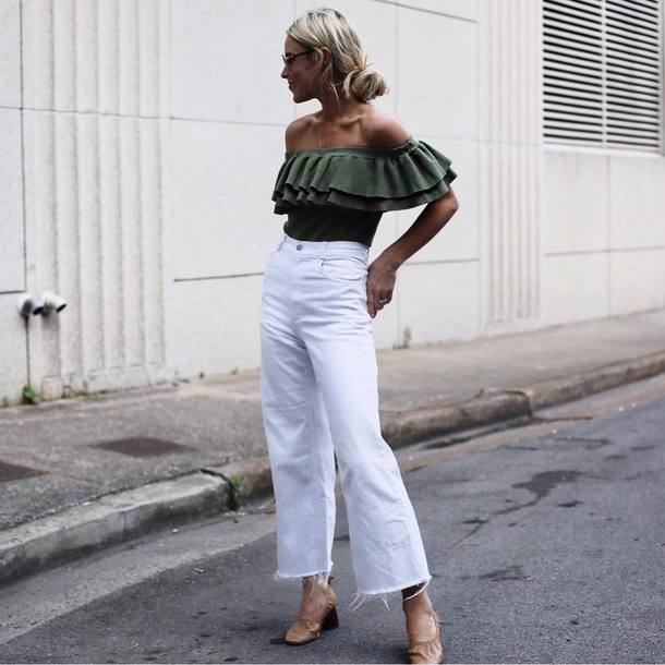 top green top tumblr off the shoulder off the shoulder top ruffle denim jeans white jeans shoes nude shoes