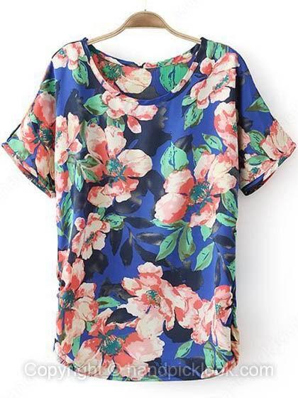 Royal Blue Short Sleeve Flowers Print T-Shirt - HandpickLook.com