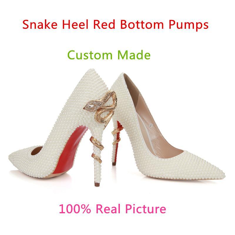 8243906b262 White Pearls Rhinestone Wedding Bridal Shoes For Brides Prom Party Evening  Women Dress Shoes Fashion Red Bottom ...