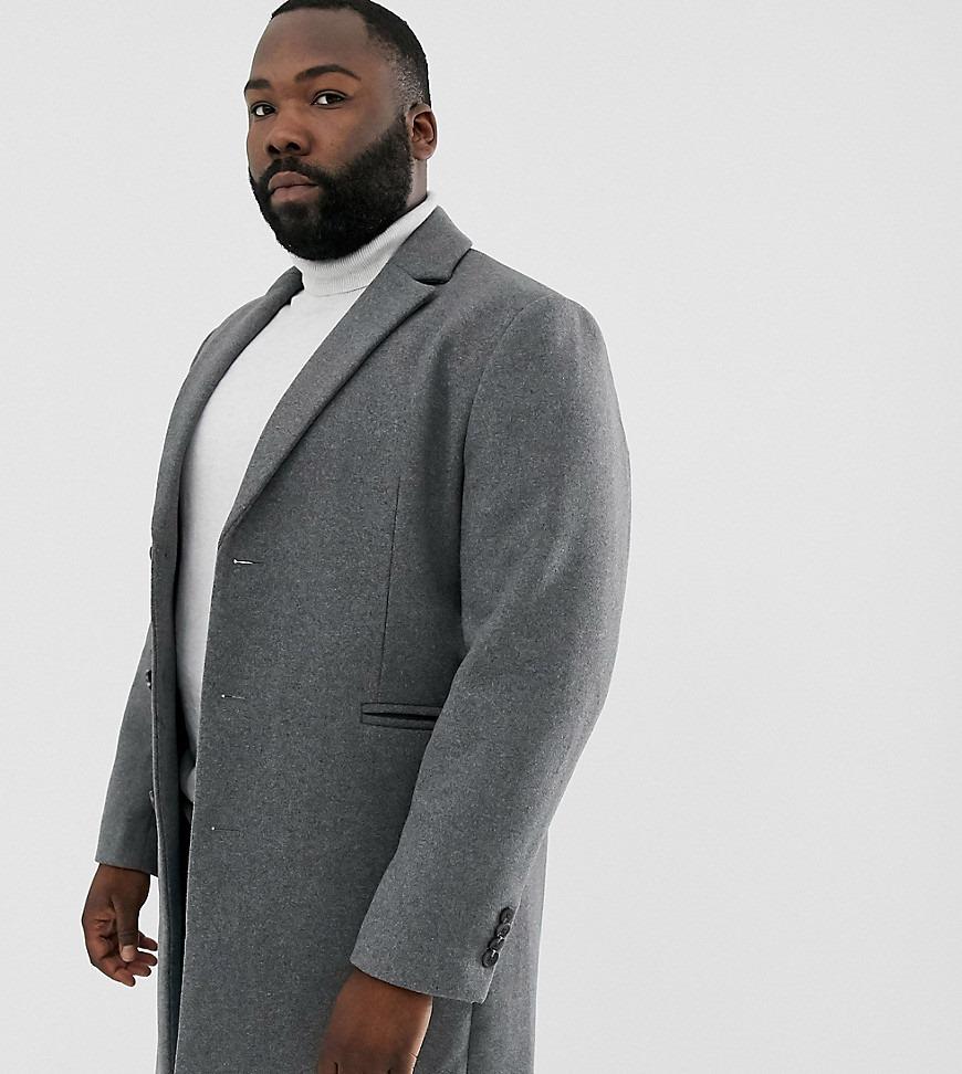 ASOS DESIGN Plus wool mix overcoat in light gray