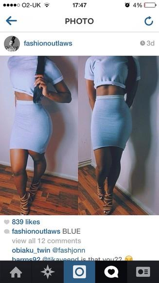 two-piece skirt blue skirt