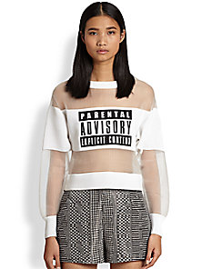 Alexander Wang - Parental Advisory Neoprene & Sheer Organza Sweatshirt - Saks Fifth Avenue Mobile