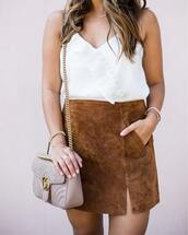 skirt,suede skirt,mini skirt,blogger,blogger style,white tank top,gucci clutch,clutch