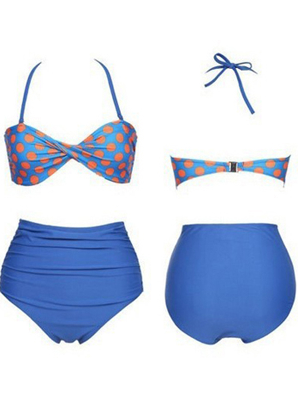 High Waisted Vintage Halterneck Ruffled Polka Dot Print Swimsuit : KissChic.com