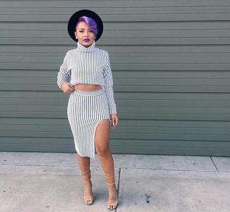 dress turtleneck dress striped dress blue and white long sleeve dress