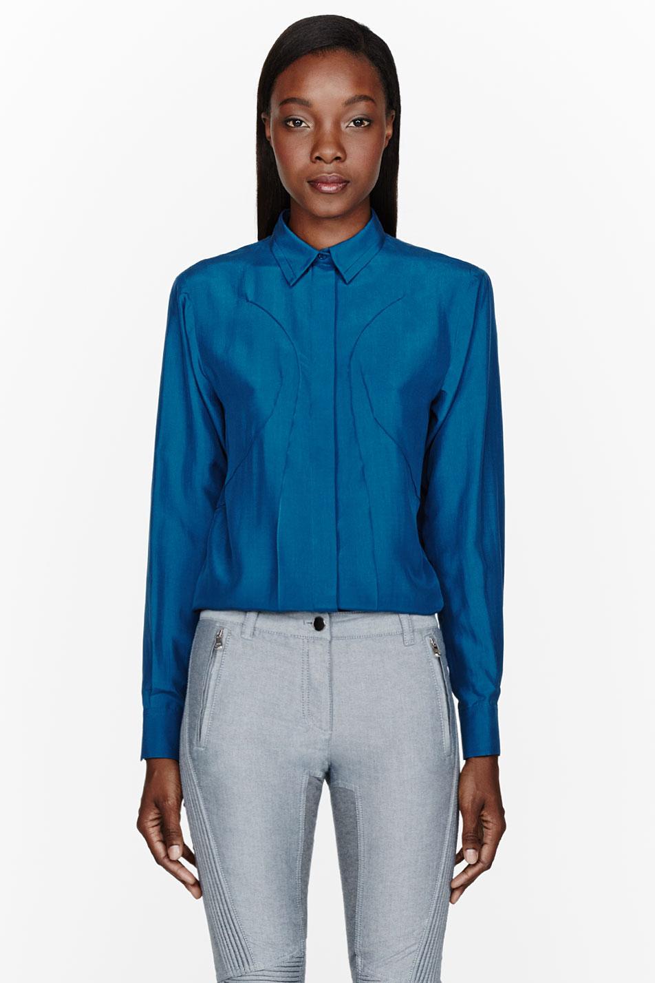 cdric charlier blue silk blouse