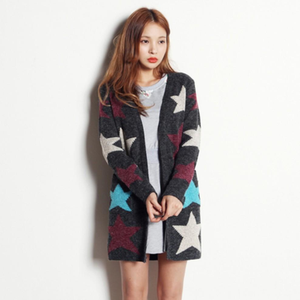 Star knit long cardigan