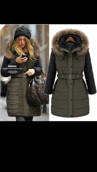 jacket army green faux fur jacket quilted long jacket puffer jacket