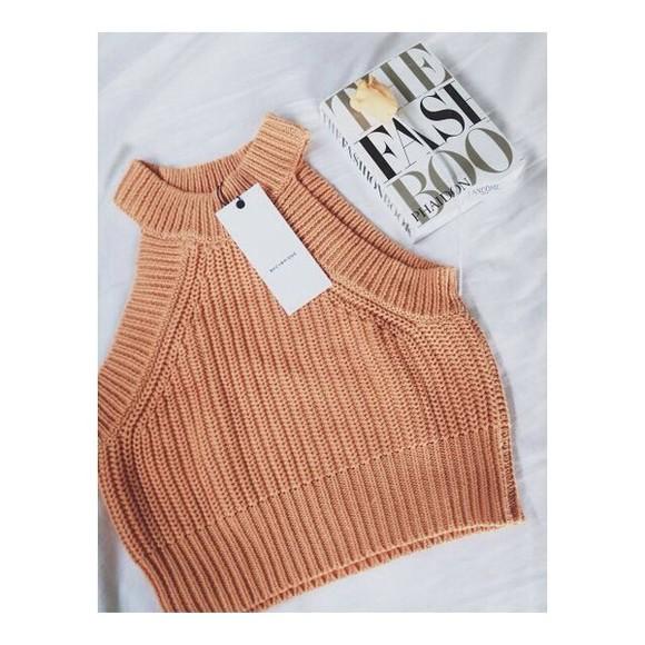 knitwear tumblr shirt shirt tank top t-shirt sweater crop tops cable knit orange tank top cream tan halter top top apricot crop crocheted high neck