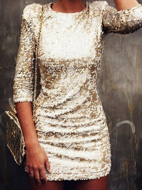 dress sparkling dress gold sequins sequined short lovely long sleeved mini dress gold sequins gold dress shiny