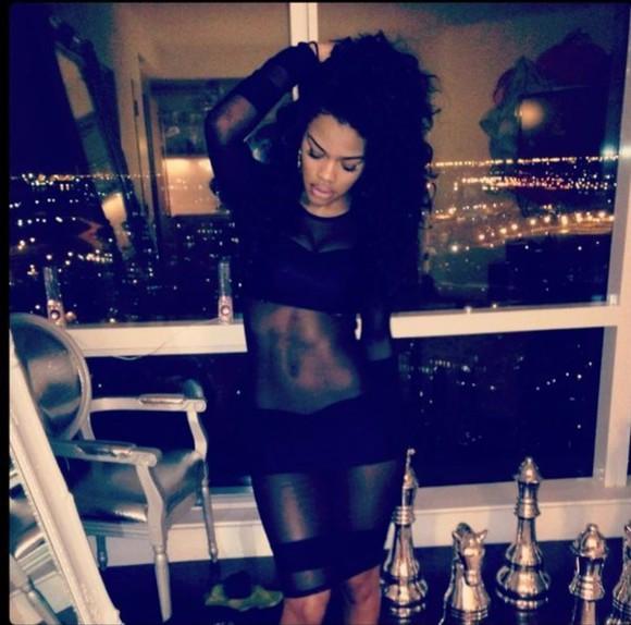 dress black teyana taylor teyana taylor, black black dresses crop tops shorts crop top black shorts black black shorts black crop top mesh dress