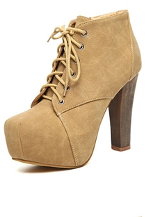 Popular Apricot PU Upper Square Toe Platform Chunky Heels Ankle Boots : tidestore.com