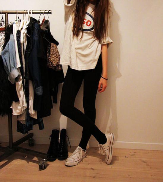 6920416ad15ba t-shirt, white t-shirt, white t-shirt, converse, leggings, shoes ...