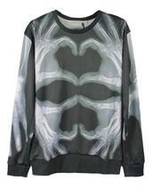 top,3d graphic,3d sweatshirt,xray hands sweatshirt,skeleton hands sweatshirt,gray and black sweatshirt,long sleeves,www.ustrendy.com