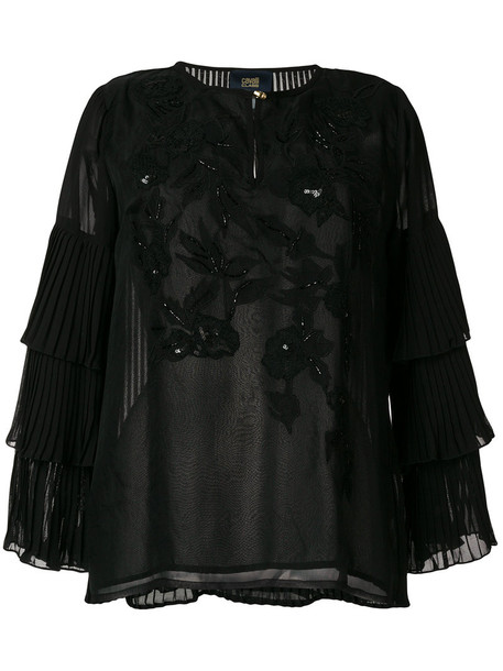 Cavalli Class blouse embroidered women black top