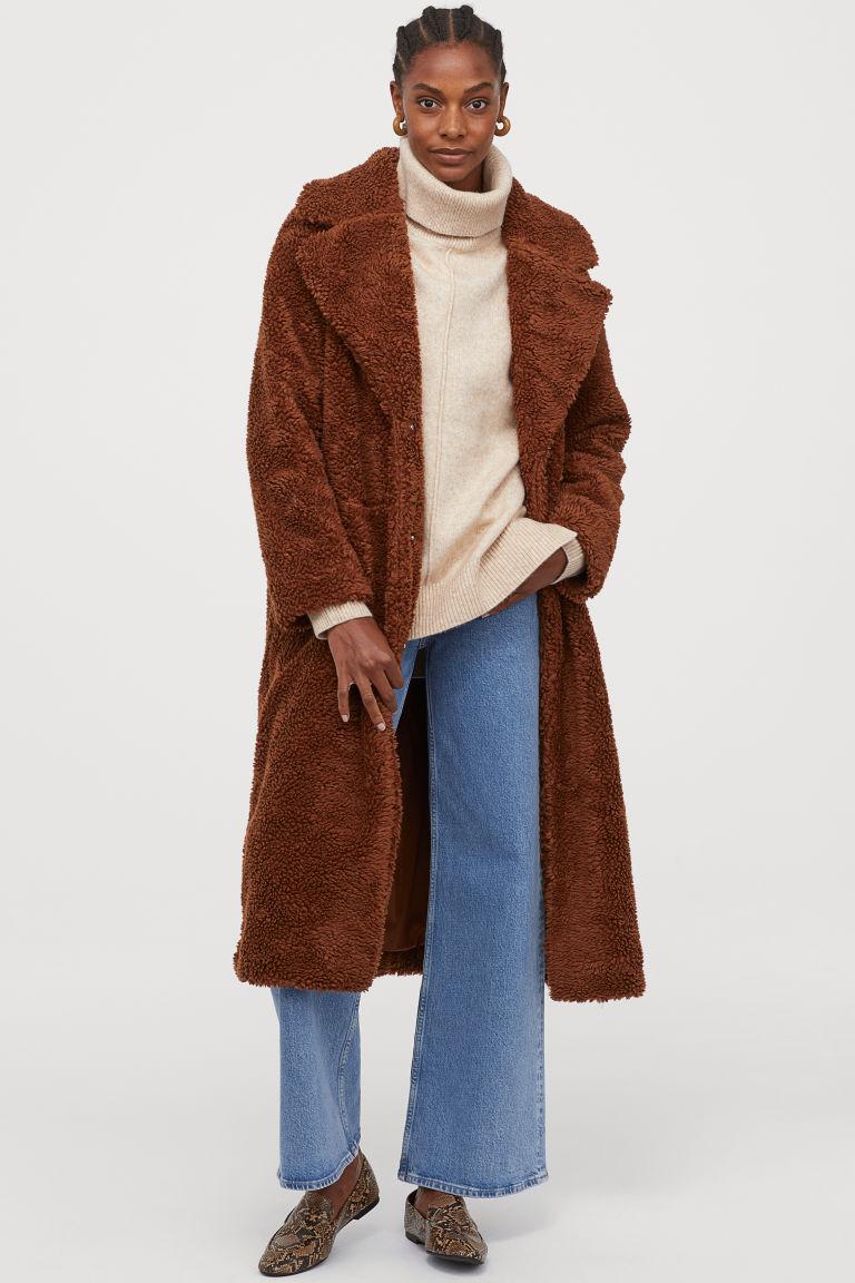 Long pile coat - Brown - Ladies   H&M GB