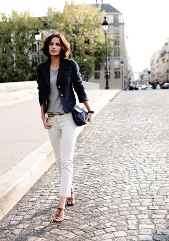 jeans cropped bootcut white jeans cropped bootcut jeans white jeans top grey top blazer jacket blue jacket sandals streetstyle