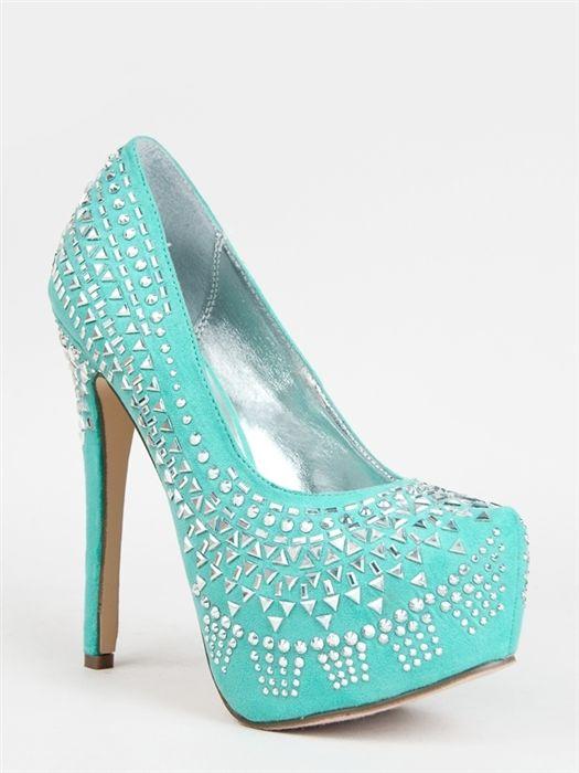 New Breckelles Women Sexy Party Rhinestone Heel Pump Aqua Green Sz Mint MARISA28   eBay