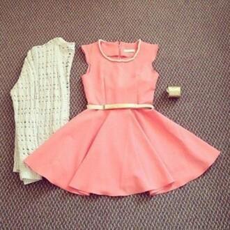 dress short dress short peach pink girly pretty feminine ariana grande grande jewelry