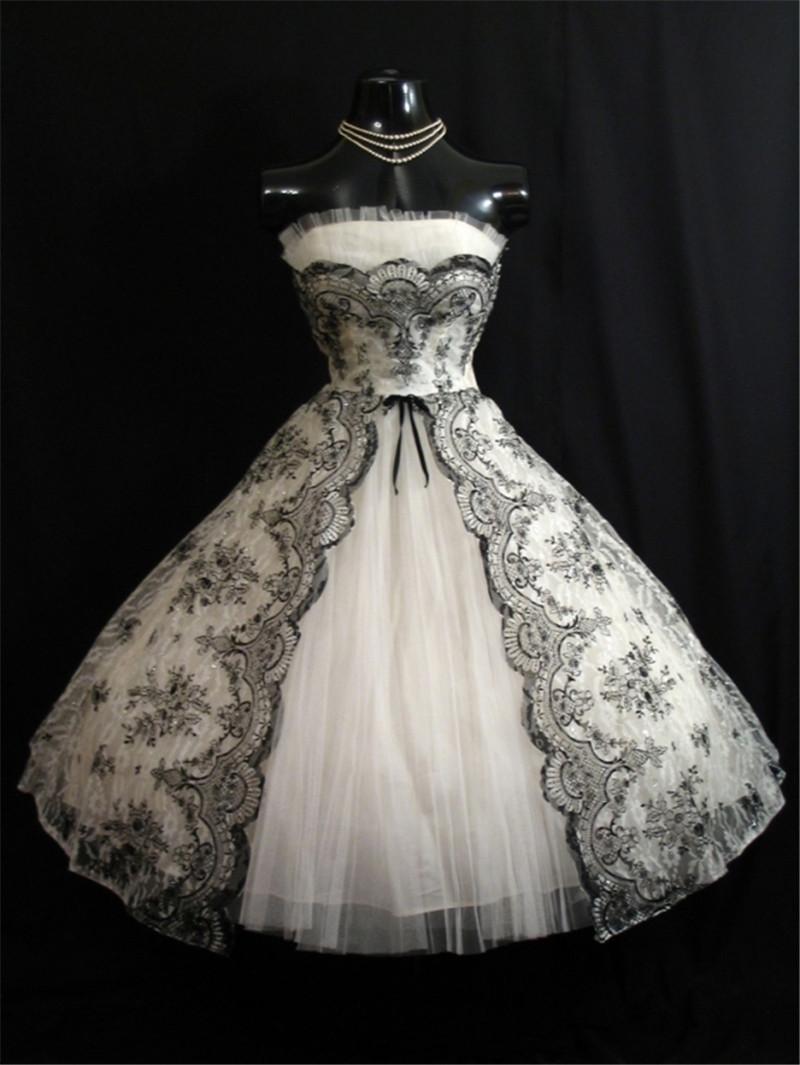 Short White Wedding Dress Black Lace : Vintage s black white short wedding dresses a