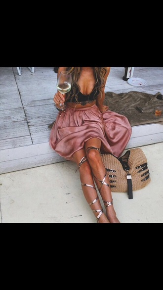 skirt pink maxi skirt silky silk shoes roman sandals tie up silver sandals